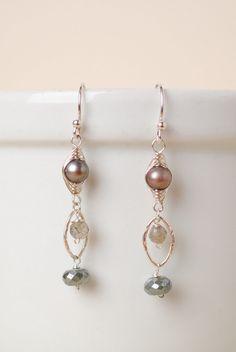 Inward Journey Pearl and Gemstone Dangle Earrings