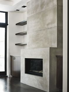 "we like the shelving here, the concrete texture, but would want less ""all of the concrete"""