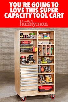 The Ultimate Space-Saving Tool Cart Roll it to your work zone for instant access; park it in a corner for space-saving storage. Power Tool Storage, Garage Tool Storage, Garage Tools, Garage Plans, Car Garage, Garage Shop, Garage Workshop Organization, Workshop Storage, Wood Workshop