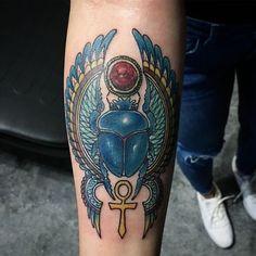 Sacred Egyptian Beetle Tattoo