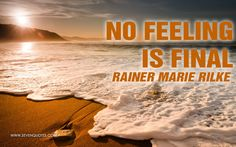 """Motivational Quote of the Day  """"No feeling is final.""""  Rainer Marie Rilke"""