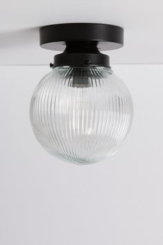 Clear Ribbed Glass Globe Light