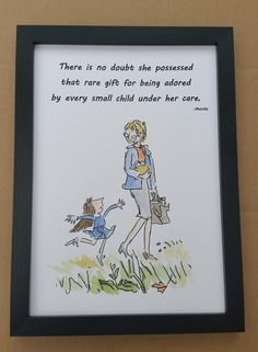 Hand Painted Matilda Quote and Watercolour Painting Roald Dahl Quentin Blake Miss Honey Teacher Gift Walking