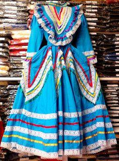 Womens Jalisco Dress With Super Wide Skirt Flow Folklorico Dance Handmade New #Handmade