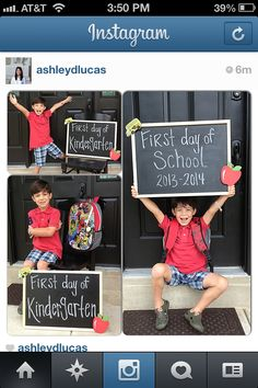 My son's first day of kindergarten! I purchased the chalkboard from Hobby Lobby. School picture Back to school First day of school Back To School Party, First Day School, School Days, 1st Day Of School Pictures, School Photos, Starting Kindergarten, Kindergarten First Day, School Chalkboard, School Signs