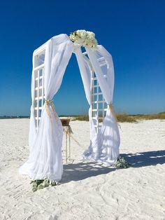 White Garden Arch Beach Wedding Ceremony Destination Custom Flowers Fort Myers