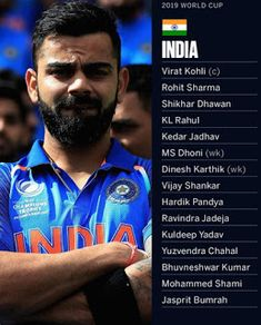 squad for the ICC 2019 in England and Wales to lead the side will play their first match against South Africa on June Cricket Update, World Cup Teams, Ravindra Jadeja, Shikhar Dhawan, Icc Cricket, Cricket World Cup, Art Music, Squad, Manga