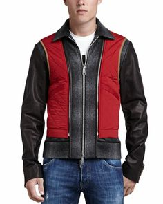 Wool Biker Jacket with Leather Sleeves by Dsquared2 at Neiman Marcus.