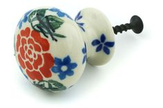 Certificate of Authenticity Polish Pottery 1/½-inch Drawer Pull Knob Made by Ceramika Artystyczna Light Hearted Theme
