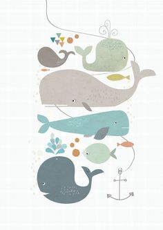 Wall Decoration Nursery - Happy Whales by Paper Moon Paper Moon, Art And Illustration, Kids Prints, Belle Photo, Art For Kids, Clip Art, Drawings, Drawing Sketches, Kid Decor