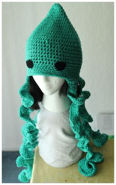 Crochet Blue Squid Hat UNISEX Custom Available by TheStitchQueen
