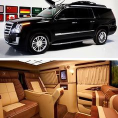 newest Cadillac Escalade Mobile Office, the Concept One Curve. The world's ever mobile office to include a curved smart tv theater system. Cadillac Ats, Cadillac Escalade, Escalade Esv, Chevrolet Blazer, Chevrolet Tahoe, Dodge Durango Interior, Motorhome, Luxury Van, Top Luxury Cars