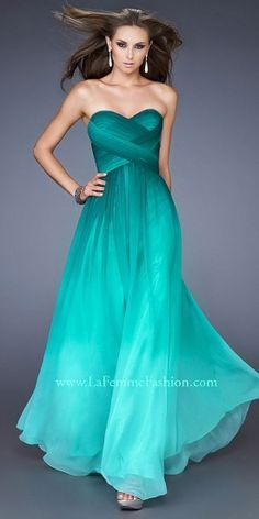La Femme Strapless Sweetheart Asymmetrical Pleated Ombre Prom Dresses #PromDress