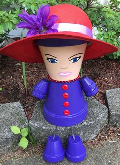 Red Hat Society Flower Pot People Gift for her Red Hat Flower Pot Art, Clay Flower Pots, Terracotta Flower Pots, Flower Pot Crafts, Clay Pot Projects, Clay Pot Crafts, Diy Clay, Garden Projects, Flower Pot People