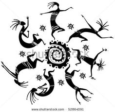 Dancing figures in a circle in explanation of prehistoric Art of Poster. Arte Tribal, Tribal Art, Native Art, Native American Art, Motifs Aztèques, Dancing Figures, Afrique Art, Southwest Art, Arte Popular