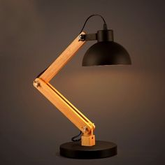 Adjustable Desk Lamp with Wood Base and Bowl Shape Shade