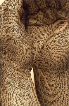 """Body Sculpture: """"Calligraphy on the Raw"""" by Ronit Bigal-International Exhibition of Calligraphy"""