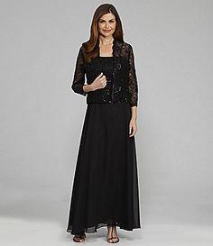SL Fashions Sequin Jacket Dress #Dillards