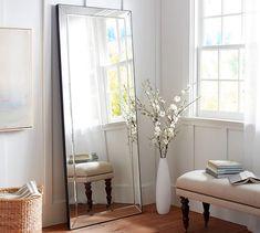 Astor-double wide mirror- pottery barn - long for bathroom? Antique Floor Mirror, Beveled Mirror, Mirror Glass, Wall Mirror, Floor Mirrors, Bath Mirrors, Antiqued Mirror, Antique Glass, Pottery Barn