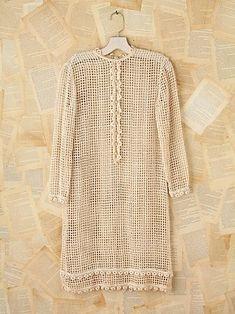 i love crochet, can't get enough! - Vintage Button Front Crochet Dress