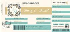 Plane Ticket Wedding Invitations Boarding Pass by InvitingMoments