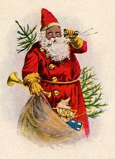 Thursday is Request Day - Black Santa, Bathtub, Cuckoo Clock, Black & White Santa - The Graphics Fairy