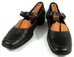 Ecco Shoes Womens Size US 9 9.5 M EUR 40 Black Leather Mary Jane Loafers #ECCO #MaryJanes