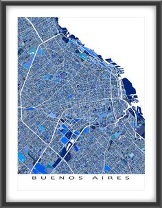 Buenos Aires #map print featuring the city of #BuenosAires, #Argentina, South America.