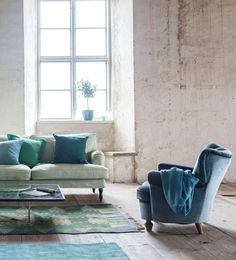 stone walls   IKEA Stocksund sofa with a Bemz cover in Tea Green Panama Cotton   www.bemz.com