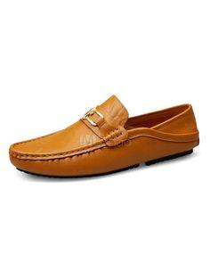 Men Loafers Light Brown Round Toe Metal Detail Slip On Pumps Cowhide Driving Shoes – Sorihe Latest Mens Fashion, Men Fashion, Men's Shoes, Dress Shoes, Slip On Pumps, Driving Shoes, Loafers Men, Oxford Shoes, Toe