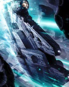 Millennium Falcon Asteroid Field Star Wars Interpretive Artwork Giclée on Canvas Star Citizen, Images Star Wars, Star Wars Pictures, Starwars, Star Wars Fan Art, Science Fiction, Film Gif, Nave Star Wars, Millenium Falcon