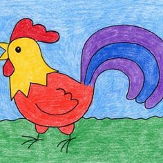 Draw a Rooster · Art Projects for Kids Basic Drawing For Kids, Easy Art For Kids, Drawing Lessons For Kids, Easy Drawings For Kids, Scenery Drawing For Kids, Easy Art Projects, Drawing Projects, Drawing Ideas, Rooster Art