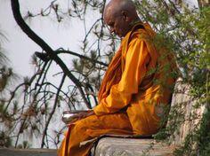 Een bhikkhu (Pali) is een boeddhistische (Theravada) monnik, hier met aalmoesschaal. Vragend bedelen is verboden. Het is een bhikkhu niet toegestaan voedsel te bereiden. Met de dagelijkse aalmoesronde verkrijgt hij zijn eten. Geld ontvangen of gebruiken is eveneens niet toegestaan. Voor zijn levensonderhoud is een bhikkhu totaal afhankelijk van wat anderen hem geven.