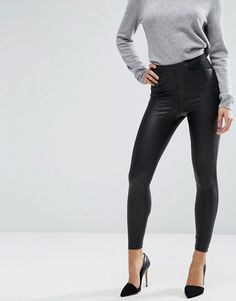 ASOS DESIGN leather look leggings with elastic slim waist at asos.com 1873f4b6cb5