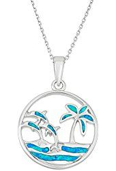 "Sterling Silver Created Blue Opal Palm Tree & Dolphins Circle Pendant with 18"" Chain"