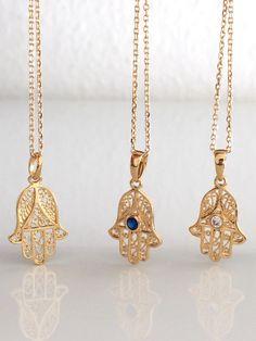 Hamsa Crystal Necklace 14k Gold Filled Danity Chain Rhinestones,Cubic, Zirconia,Evil Eye,Luck, Charm on Etsy, $56.95