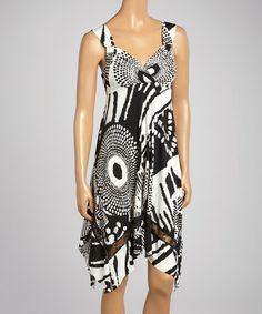 Loving this Black & White Abstract Handkerchief Hem Dress - Women on #zulily! #zulilyfinds