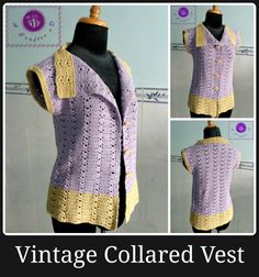 Crochet vintage collared vest - Maz Kwok's Designs