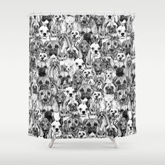 christmas dogs Shower Curtain by Sharon Turner