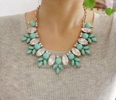 Inspired Mint Resin Necklace Crystal Necklace Bib door GemSophia, $7.80