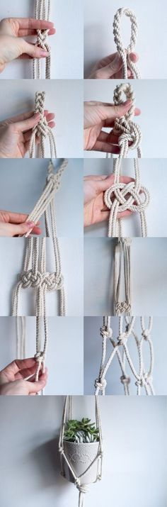 Create beautiful macrame knots and patterns for your hanging planter.