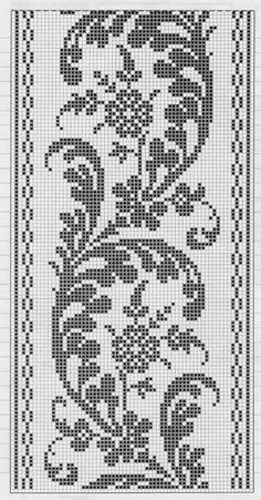 This Pin was discovered by Ayş Crochet Bedspread Pattern, Crochet Motif Patterns, Filet Crochet Charts, Crochet Cross, Tapestry Crochet, Thread Crochet, Embroidery Patterns, Crochet Curtains, Crochet Borders