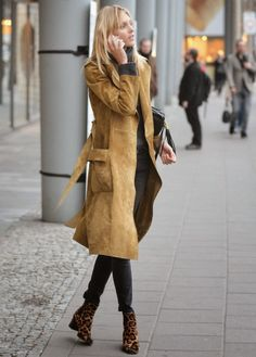 The Front Row View: Model Street Style: Anja Rubik's Suede Trench Coat Look