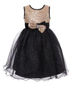 Black & Gold Sequin Glitter Overlay Dress - Girls