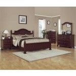 Crown Mark - 5-PC Traditions Traditional Cherry Finish King Post Bed Set - 59B1950-QS SPECIAL PRICE: $1,488.00