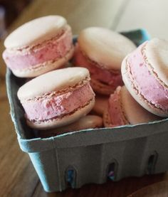 Strawberry and macaroon ice cream sandwiches