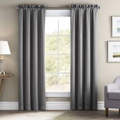 Wayfair Basics Wayfair Basics Solid Blackout Rod Pocket Single Curtain Panel Colour: Grey, Size per Panel: x Rod Pocket Curtains, Grommet Curtains, Drapes Curtains, Curtain Panels, White Area Rug, Beige Area Rugs, Blue Area, Stairway Decorating, Decorating Ideas