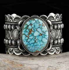 Cuff | Delbert Gordon (Navajo).  Sterling silver with Birdseye Turquoise Mountain Turquoise.