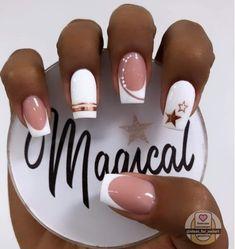 French Manicure Nail Designs, Cute Acrylic Nail Designs, Simple Acrylic Nails, Gel Nail Designs, French Nails, Nail Manicure, Rose Nail Art, Rose Nails, Edgy Nails