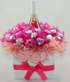 Pink Blush $55.00 Liquor Bouquet, Chocolate Bouquet, Delicious Chocolate, Diy Gifts, Blush Pink, Centerpieces, Gift Ideas, Crafts, Light Rose